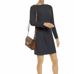 MICHAEL Michael Kors Brown Leather Flap Shoulder Bag 243677