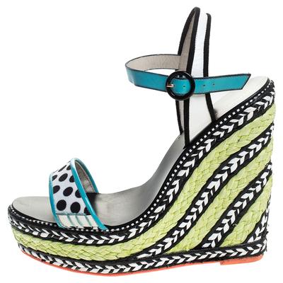 Sophia Webster Multicolor Polka Dot Canvas And Leather Lucita Espadrille Wedges Sandals Size 39 - 1