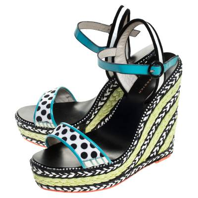 Sophia Webster Multicolor Polka Dot Canvas And Leather Lucita Espadrille Wedges Sandals Size 39 - 3
