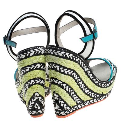 Sophia Webster Multicolor Polka Dot Canvas And Leather Lucita Espadrille Wedges Sandals Size 39 - 4
