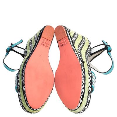 Sophia Webster Multicolor Polka Dot Canvas And Leather Lucita Espadrille Wedges Sandals Size 39 - 5
