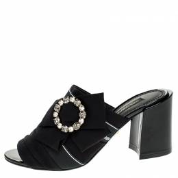 Dolce&Gabbana Black Satin Crystal Embellished Open Toe Mules Size 37 248598