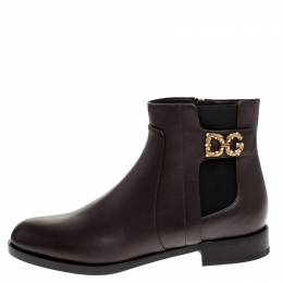 Dolce&Gabbana Brown Leather Logo Detail Ankle Boots Size 38 248622