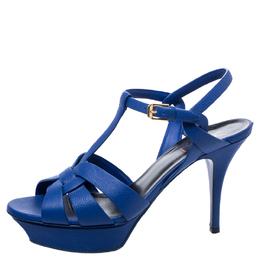 Saint Laurent Blue Leather Tribute Platform Ankle Strap Sandals Size 40 248136