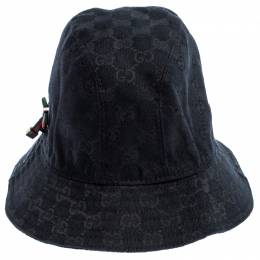Gucci Black GG Canvas Bow Bucket Hat 246790
