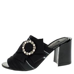 Dolce&Gabbana Black Satin Crystal Embellished Bow Open Toe Mules Size 40 248581