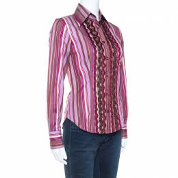 Etro Multicolour Striped Cotton Ruffled Detail Shirt S 247788