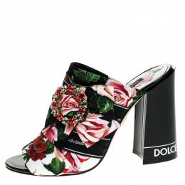 Dolce&Gabbana Multicolored Charmeuse Printed Fabric Bejeweled Buckle Mules Size 37 248802