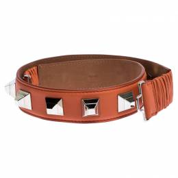 Fendi Orange Leather Studded Belt 80CM 246332