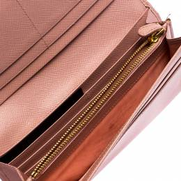 Prada Pink Saffiano Leather Bow Continental Wallet 246333