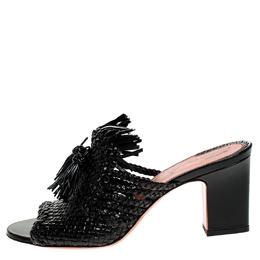 Santoni Black Woven Leather Fringe Detail Open Toe Mules Size 40 248791