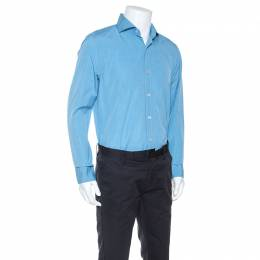 Tom Ford Blue Pinpoint Cotton Classic Fit Shirt XL 247188
