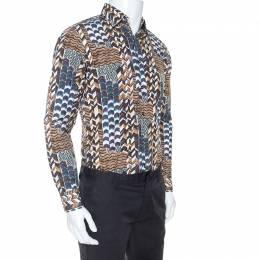 Salvatore Ferragamo Brown Geometric Print Cotton Derby Fit Shirt S 247741