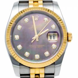 Rolex Black Mother Of Pearl Datejust Steel & Yellow Gold Diamond Dial Watch 36MM 248973