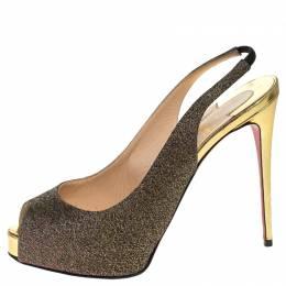 Christian Louboutin Multicolor Woven Fabric Peep Toe Slingback Sandals Size 37.5 248219