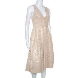 Alice + Olivia Cream & Gold Textured Knit Mindee Dress S 247618