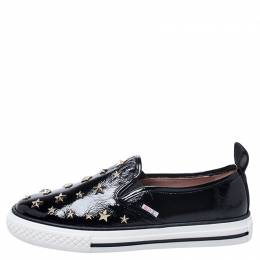 Red Valentino Black Patent Leather Star Embellished Slip On Sneakers Size 39
