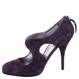 Miu Miu Purple Suede Cut Out Round Toe Pumps Size 38.5 247857