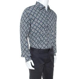 Salvatore Ferragamo Multicolor Abstract Print Cotton Derby Fit Shirt XL 247734