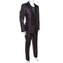Dolce&Gabbana Black & Burgundy Jacquard Three Piece Martini Suit XXL 246506