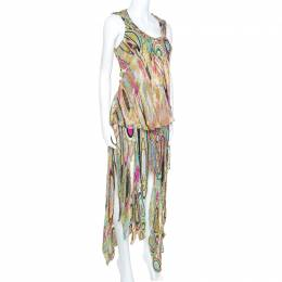 Emilio Pucci Multicolor Printed Metallic Weave Detail Embellished Skirt Set M