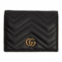 Gucci Black GG Marmont Card Case Wallet 466492 DTD1T
