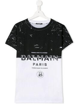 Balmain Kids футболка с контрастной вставкой 6M8501MA030