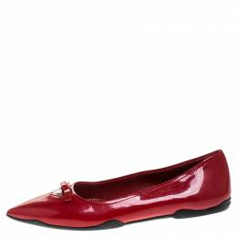 Prada Red Patent Leather Bow Pointed Toe Ballet Flats Size 37.5 248138
