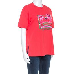 Fendi Coral Red Cotton Embellished Detail Trevi Falls T-Shirt XS 248330