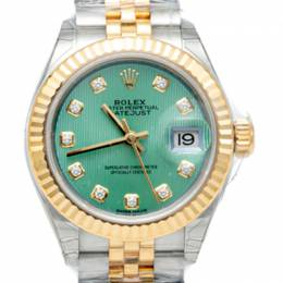 Rolex Mint Green Diamond Dial Datejust Steel & Yellow Gold Women'S Watch 28MM