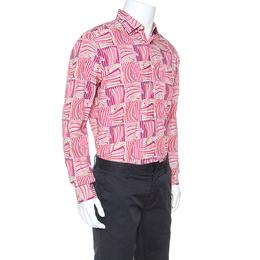 Salvatore Ferragamo Pink Sailboat Printed Cotton Derby Fit Shirt L 248154