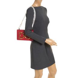 Dolce&Gabbana Red Leather DG Girls Chain Shoulder Bag 248498