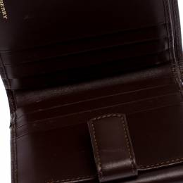 Burberry Brown/Beige Hymarket PVC and Leather Buckle Wallet 246326