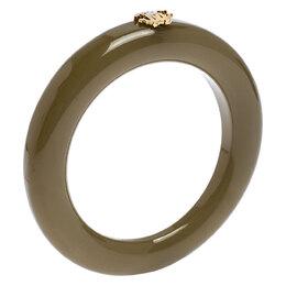Roberto Cavalli Gold Tone Logo Green Resin Bangle Bracelet 247978