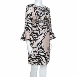 Valentino Beige Crepe Tiger Re-Edition Dress M 248348