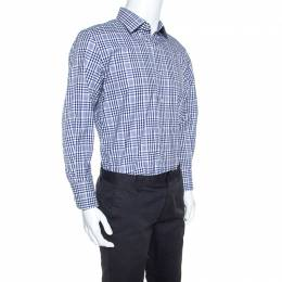 Tom Ford Navy Blue and White Checked Cotton Shirt XL 248341