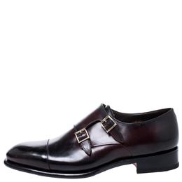 Santoni Burgundy Leather Double Buckle Derby Monk Size 43.5 248861