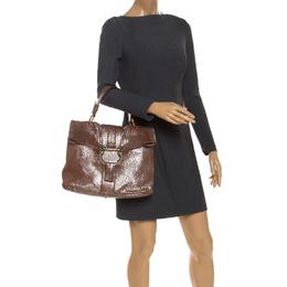 Bvlgari Metallic Brown Leather Leoni Top Handle Bag 245883