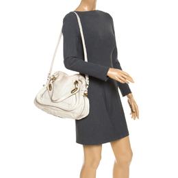 Chloe Cream Leather Medium Paraty Shoulder Bag 246847