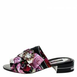 Dolce&Gabbana Multicolor Floral Printed Fabric Crystal Embellished Bow Open Toe Flat Mules Size 40 249077