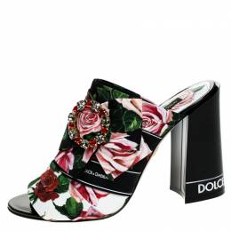 Dolce&Gabbana Multicolor Floral Printed Fabric Crystal Embellished Bow Open Toe Mules Size 38 249073