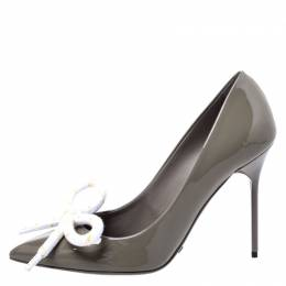 Burberry Grey Patent Leather Finsbury Bow Pointed Toe Pumps Size 37 248822