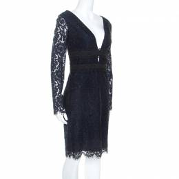 Diane Von Furstenberg Midnight Blue Lace Long Sleeve Viera Dress M 247837