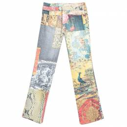 Roberto Cavalli Multicolor Patchwork Print Belted Boot Cut Jeans XS 245310