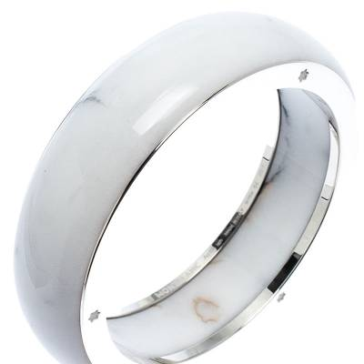 Montblanc Les Aimants by Charlotte Casiraghi White Resin Sterling Silver Bangle Bracelet Size 64 246782 - 2