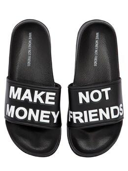 Шлёпанцы С Логотипом Make Money Not Friends 71IWIX006-MDAy0