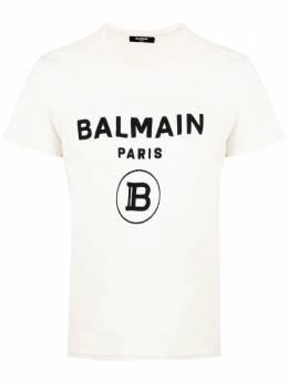 Balmain футболка с фактурным логотипом TH11601I203