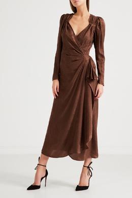 Коричневое платье из шелка Attico 1869167086
