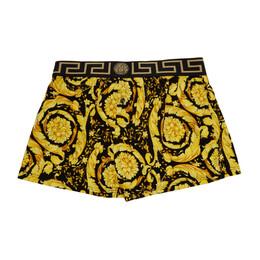 Versace Underwear Black and Gold Barocco Boxer Briefs AUU03032 A233294