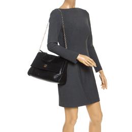 Carolina Herrera Black Leather Minuetto Flap Top Handle Bag 246941